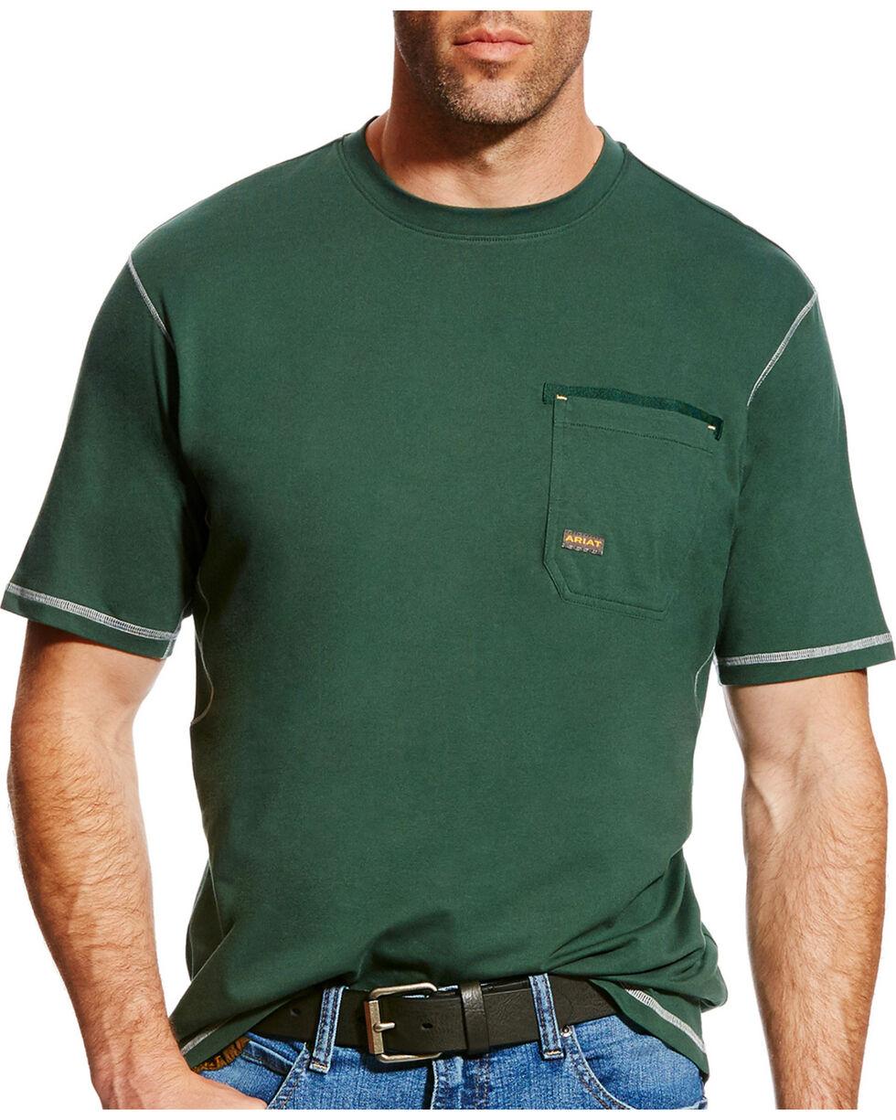 Ariat Men's Rebar Crew Short Sleeve Shirt, Dark Green, hi-res