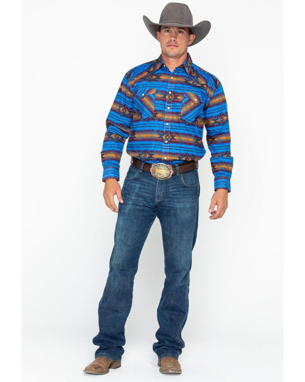 Panhandle Men's Wasatch Aztec Long Sleeve Western Shirt, Light Blue, hi-res