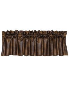 HiEnd Accents Rustic Faux Leather Valance, Brown, hi-res