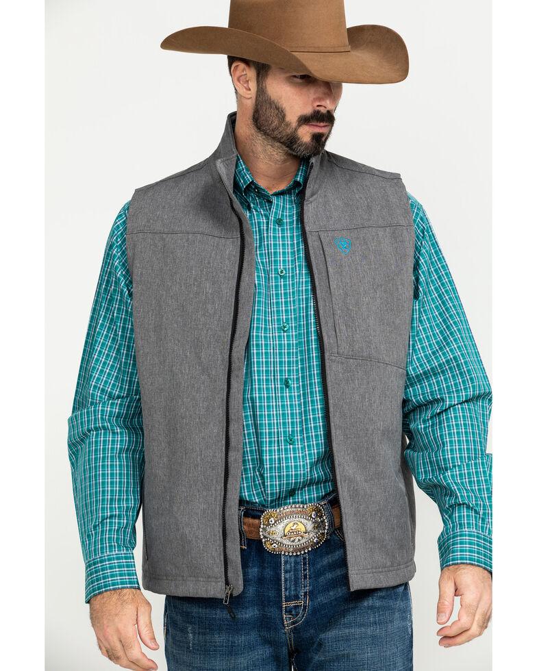 Ariat Men's Charcoal Logo 2.0 Softshell Zip-Up Vest, Charcoal, hi-res