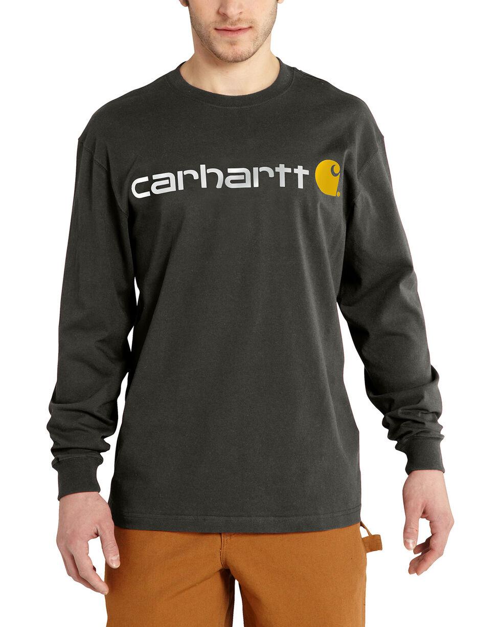 Carhartt Men's Long Sleeve Logo T-Shirt, Bark, hi-res