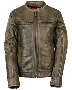 Milwaukee Leather Women's Brown Distressed Vented Scooter Jacket - 4X, Black/tan, hi-res