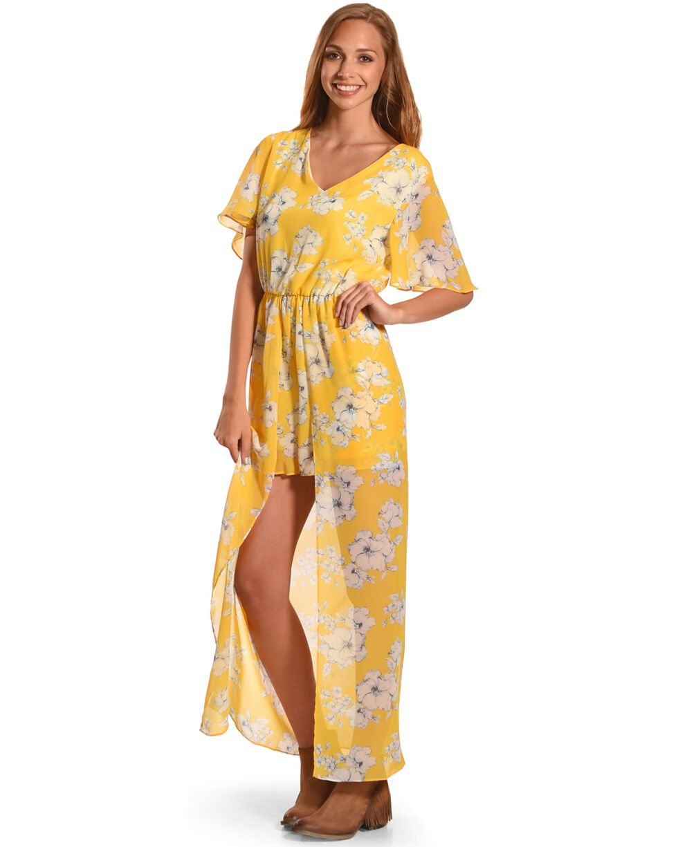 CES FEMME Women's Yellow Floral Print Romper Dress , Yellow, hi-res