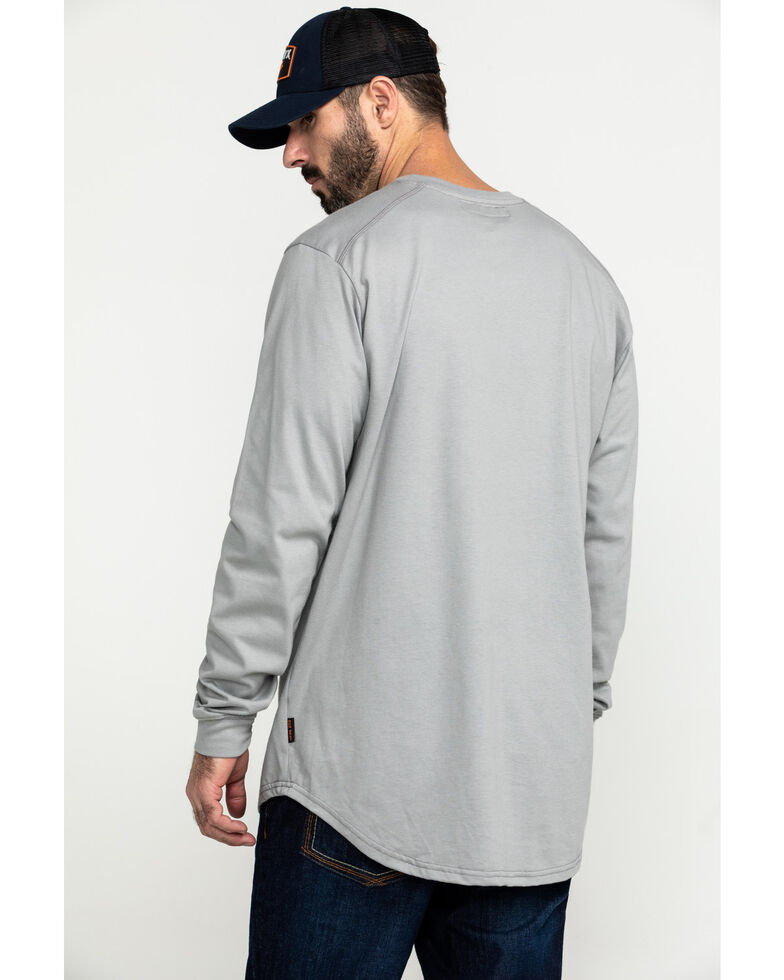 Hawx Men's Grey FR Pocket Long Sleeve Work T-Shirt , Silver, hi-res