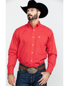 Ariat Men's Wrinkle Free Clemens Geo Print Long Sleeve Western Shirt , Red, hi-res