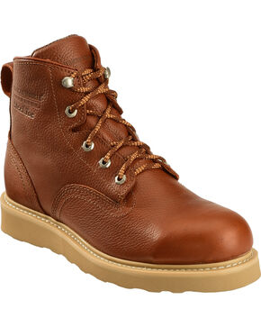 American Worker Men's Lace-Up Steel Toe Work Boots, Russet, hi-res