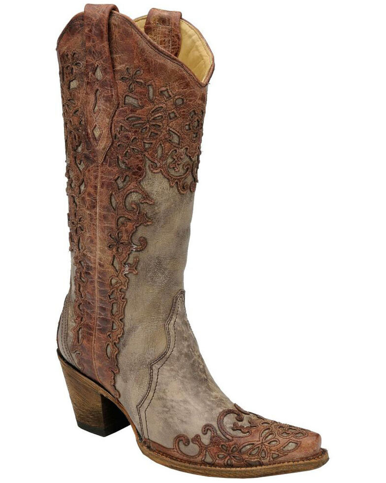 Corral Women's Overlay Snip Toe Western Boots, Sand, hi-res