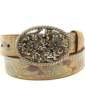Ariat Women's Floral Scroll Embossed Belt, Multi, hi-res