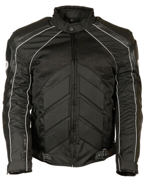 Milwaukee Leather Men's Combo Leather Textile Mesh Racer Jacket - 3X, Black, hi-res