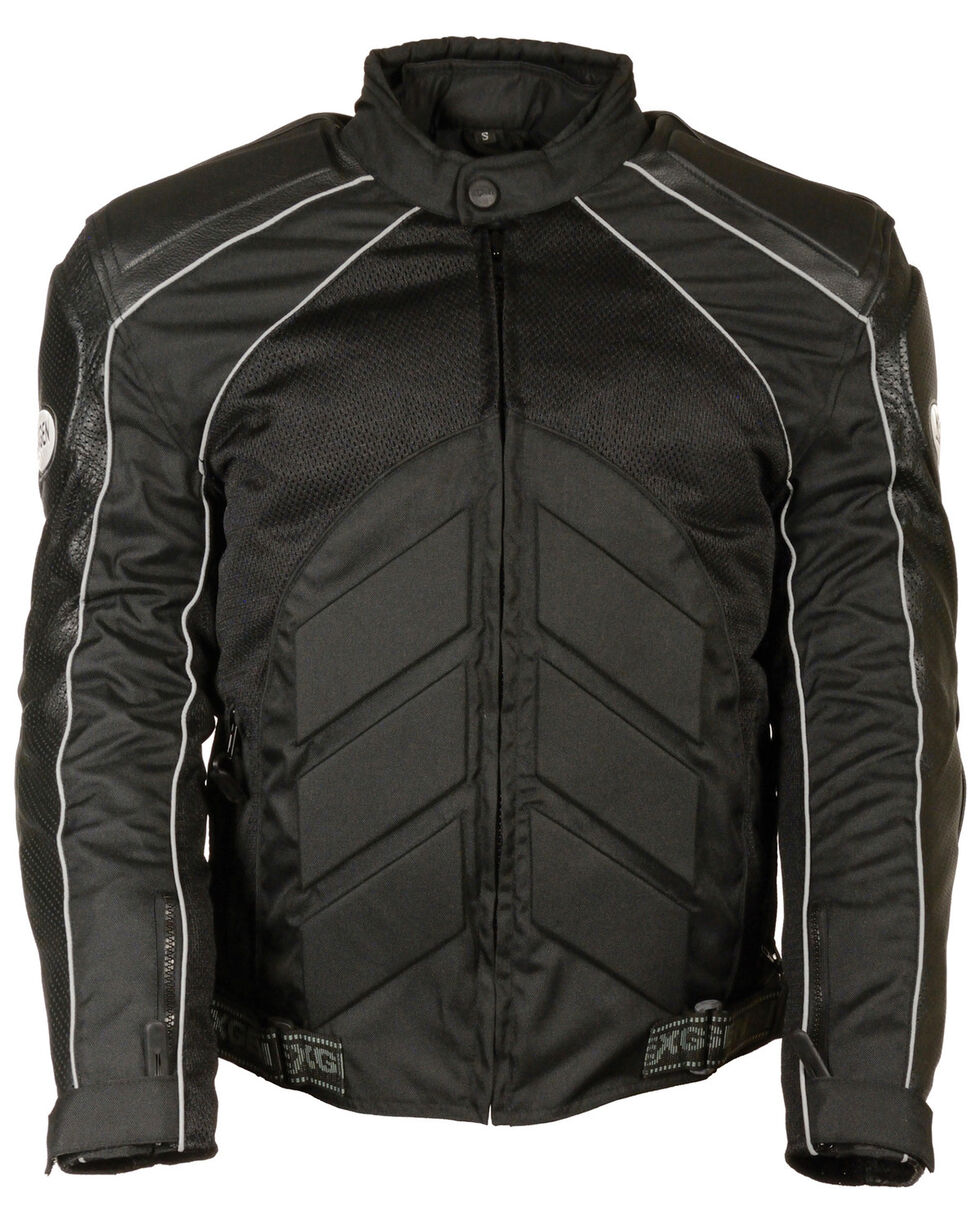 Milwaukee Leather Men's Combo Leather Textile Mesh Racer Jacket - 4X, , hi-res