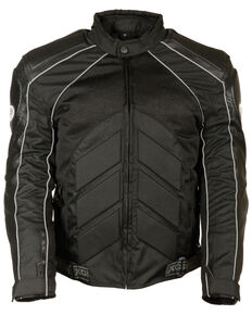 Milwaukee Leather Men's Combo Leather Textile Mesh Racer Jacket - 5X, Black, hi-res