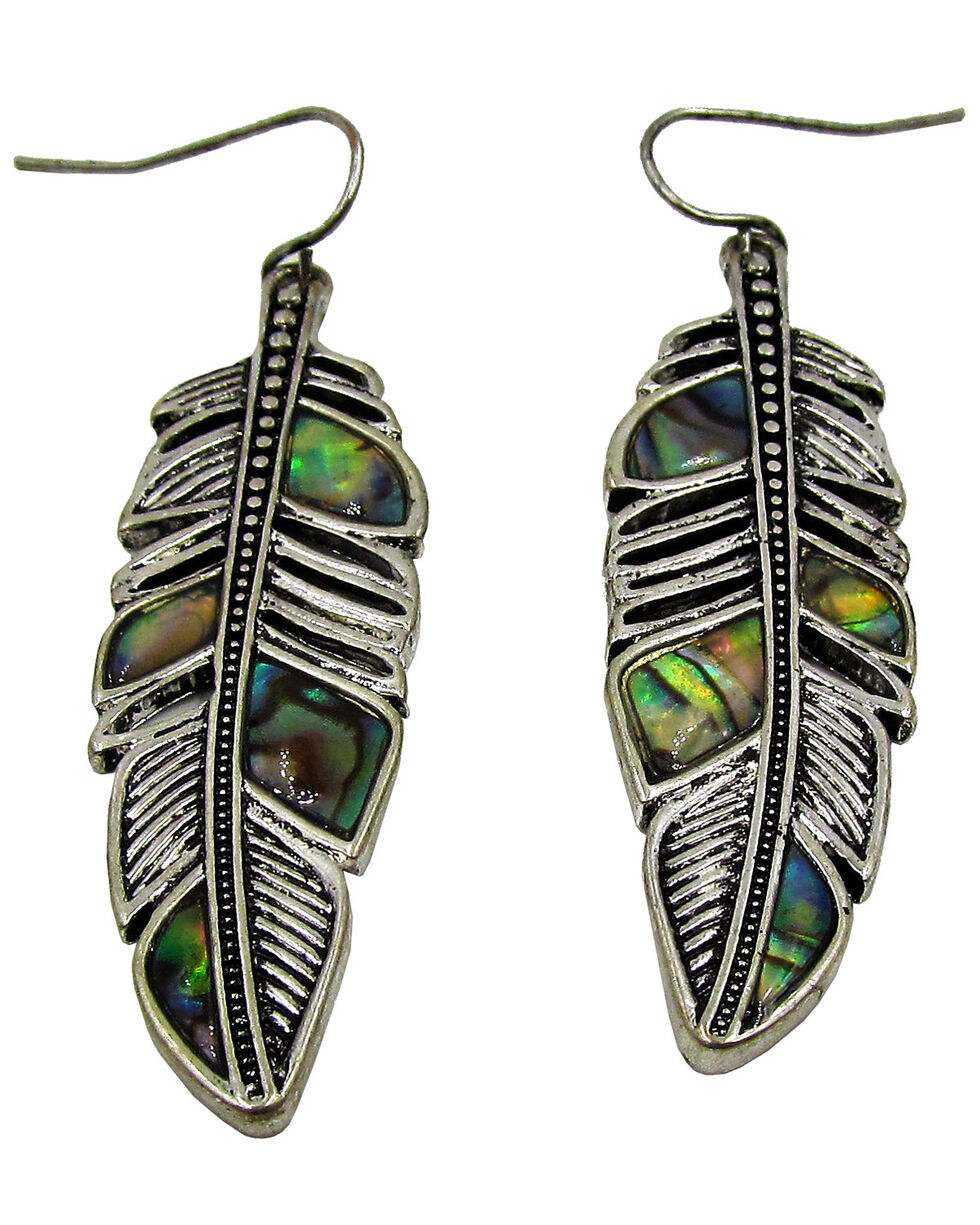 Silver Jeans Women's Genuine Abalone Feather Earrings , Silver, hi-res