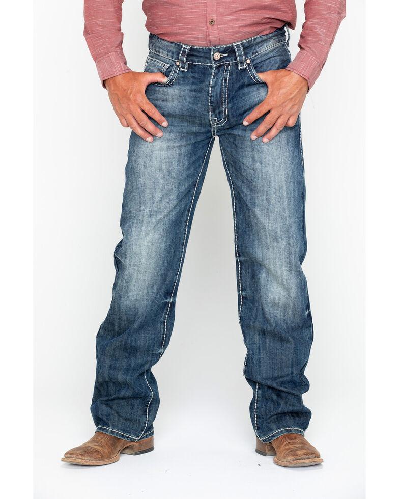 Rock & Roll Cowboy Men's Denim Stitch Double Barrel Straight Jeans , Blue, hi-res