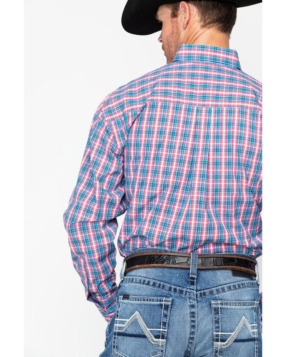 George Strait by Wrangler Men's Plaid Long Sleeve Western Shirt , Blue/red, hi-res