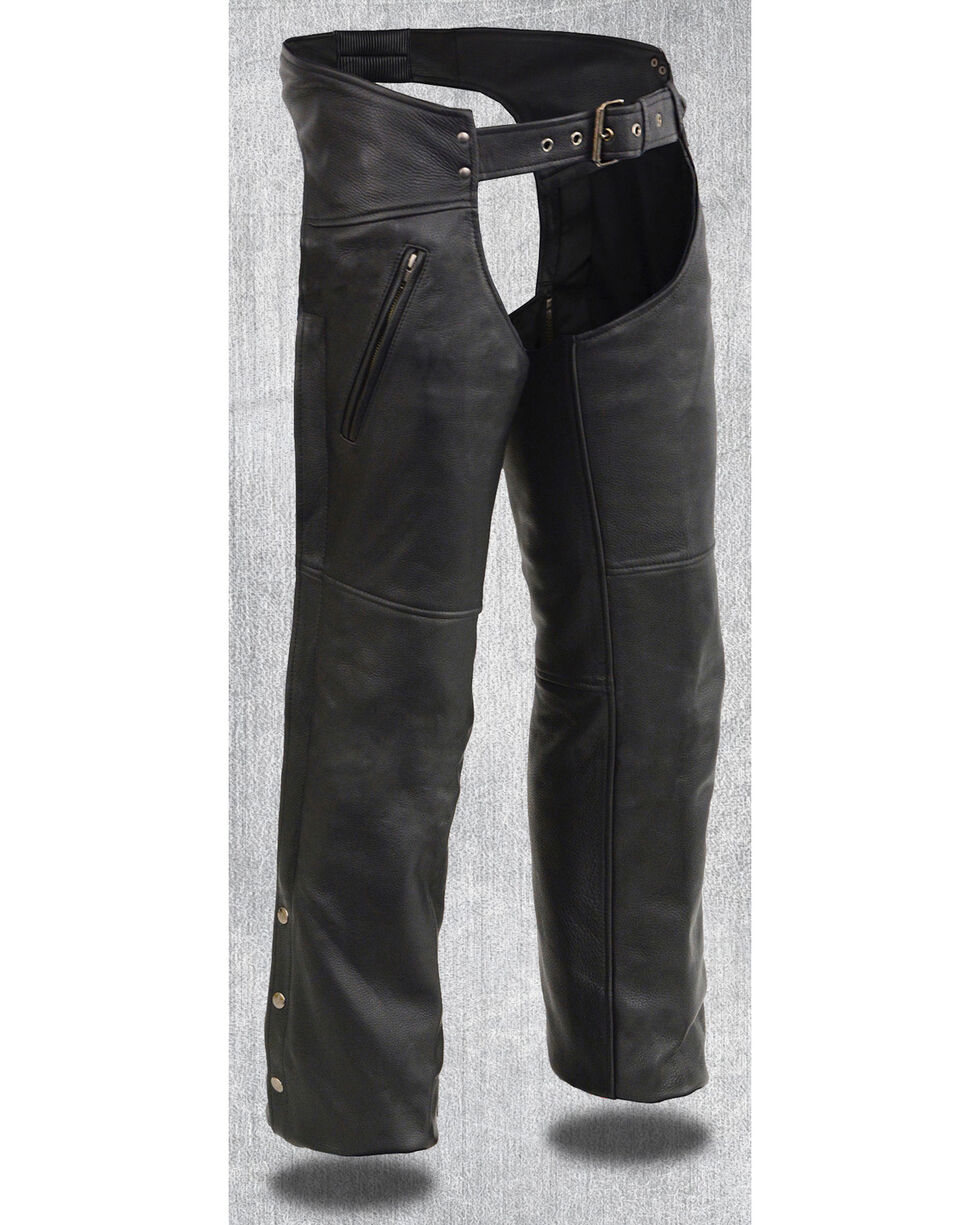 Milwaukee Leather Men's Heated Zipper Side Pocket Chaps, Black, hi-res