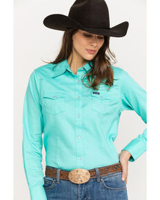 32cea7b8 Wrangler Women's Turquoise Long Sleeve Western Shirt