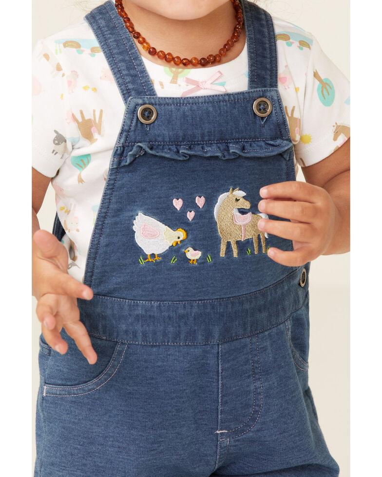 John Deere Infant Girls' Denim Farm Scene Shortall & T-Shirt Set , Indigo, hi-res