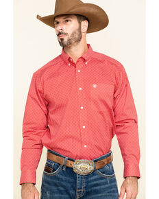 Ariat Men's Nakima Small Geo Print Long Sleeve Western Shirt , Red, hi-res
