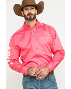 Ariat Men's Rose Team Logo Twill Long Sleeve Western Shirt , Pink, hi-res