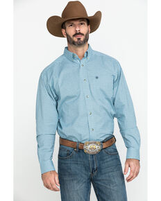 Ariat Men's Novato Small Plaid Long Sleeve Western Shirt - Big , Turquoise, hi-res