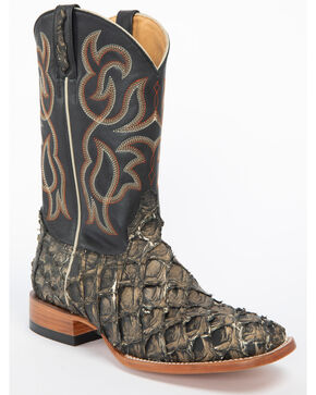 Cody James Men's Exotic Pirarucu Western Boots - Wide Square Toe, Black, hi-res