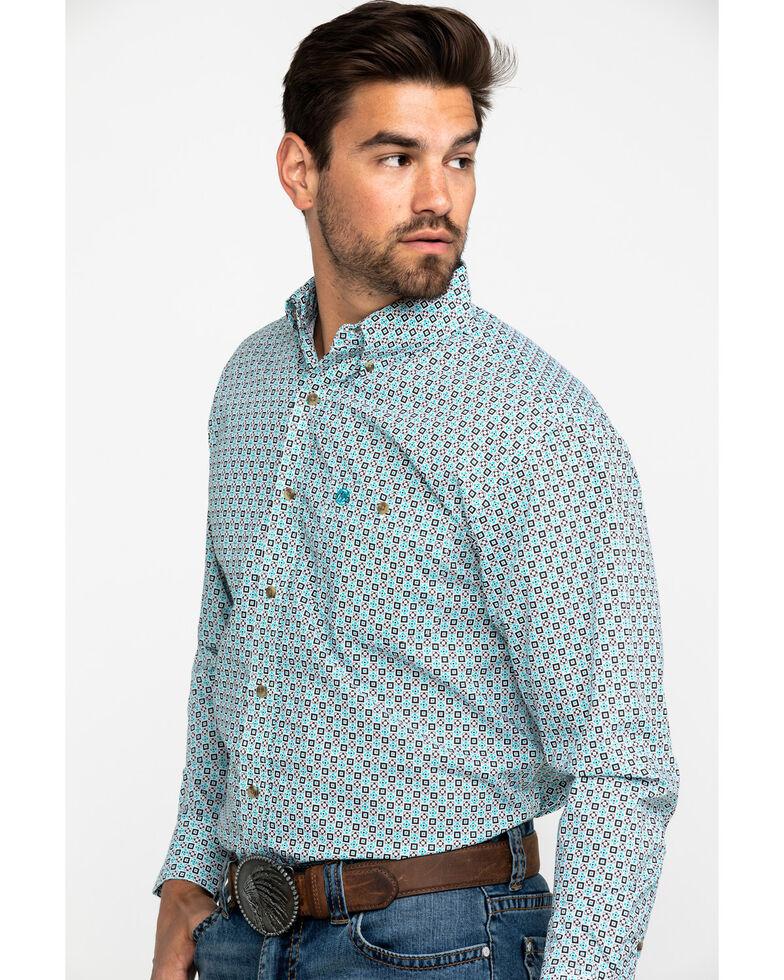 Wrangler Men's Classic Tan Geo Print Long Sleeve Western Shirt , Tan, hi-res