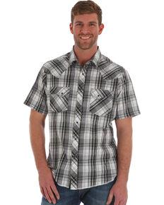 Wrangler Men's Black Plaid Short Sleeve Western Shirt , Black, hi-res