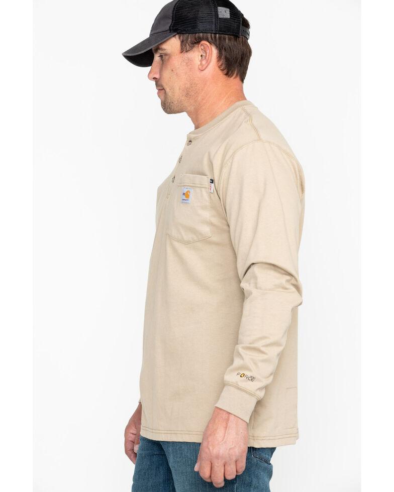 Carhartt Flame Resistant Long Sleeve Work Henley Shirt - Big & Tall, Beige/khaki, hi-res