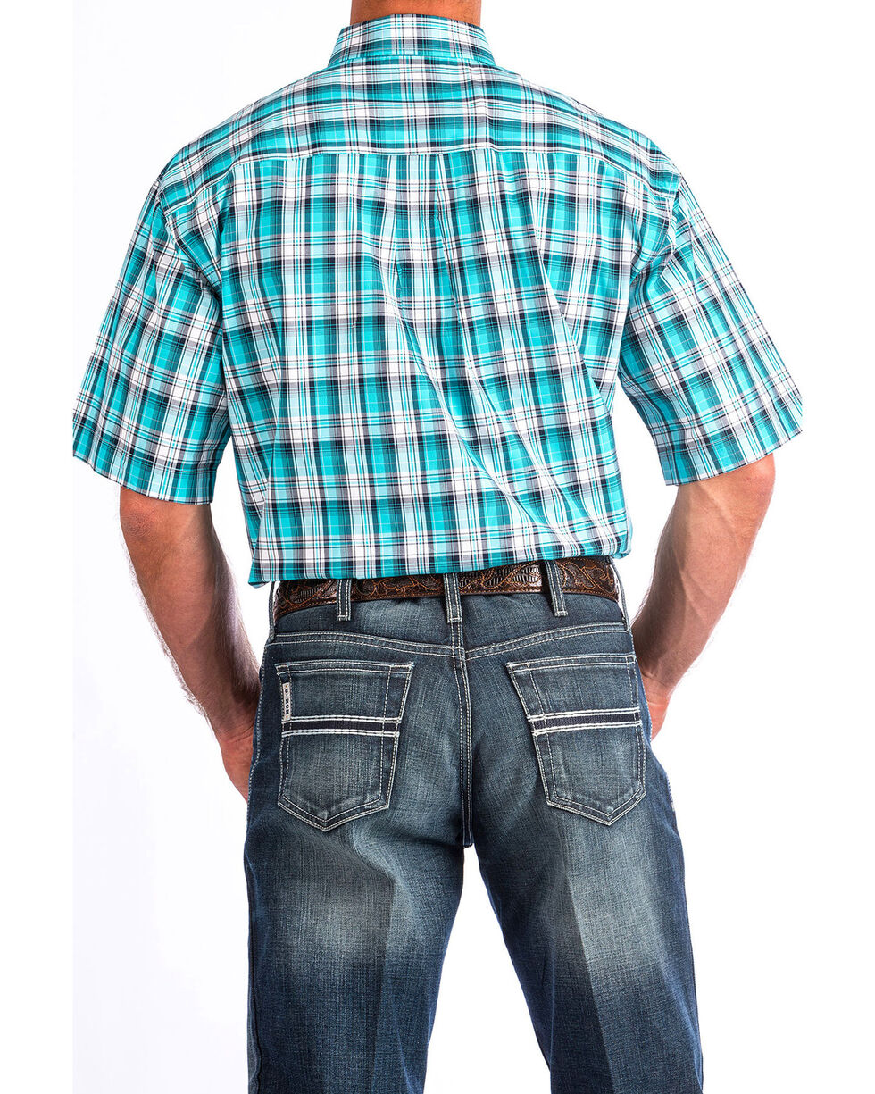 Cinch Men's Turquoise Plaid Short Sleeve Double Pocket Shirt , Turquoise, hi-res