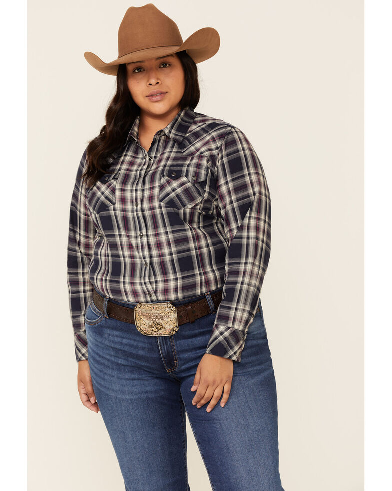 Ariat Women's Peacoat Plaid REAL Virtue Long Sleeve Western Shirt - Plus, Blue, hi-res