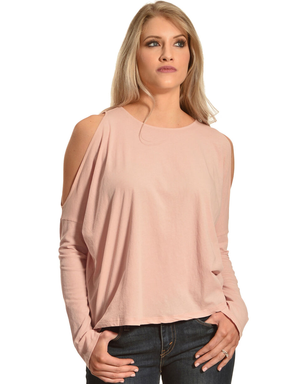 Others Follow Women's Light Pink Cold Shoulder Long Sleeve Tee, Light Pink, hi-res
