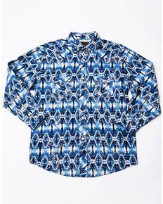 Rock & Roll Cowboy Boys' Poplin Aztec Print Long Sleeve Western Shirt , Blue, hi-res