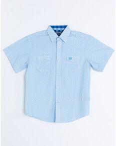 Panhandle Boys' Peached Short Sleeve Western Shirt, White, hi-res