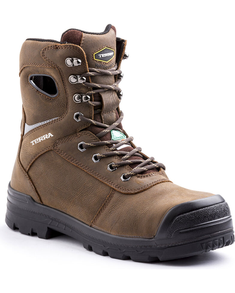 Terra Men's Pilot Work Boots - Composite Toe, Brown, hi-res