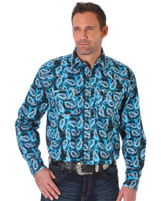 Wrangler 20X Men's Blue Paisley Print Advanced Comfort Long Sleeve Western Shirt , Blue, hi-res