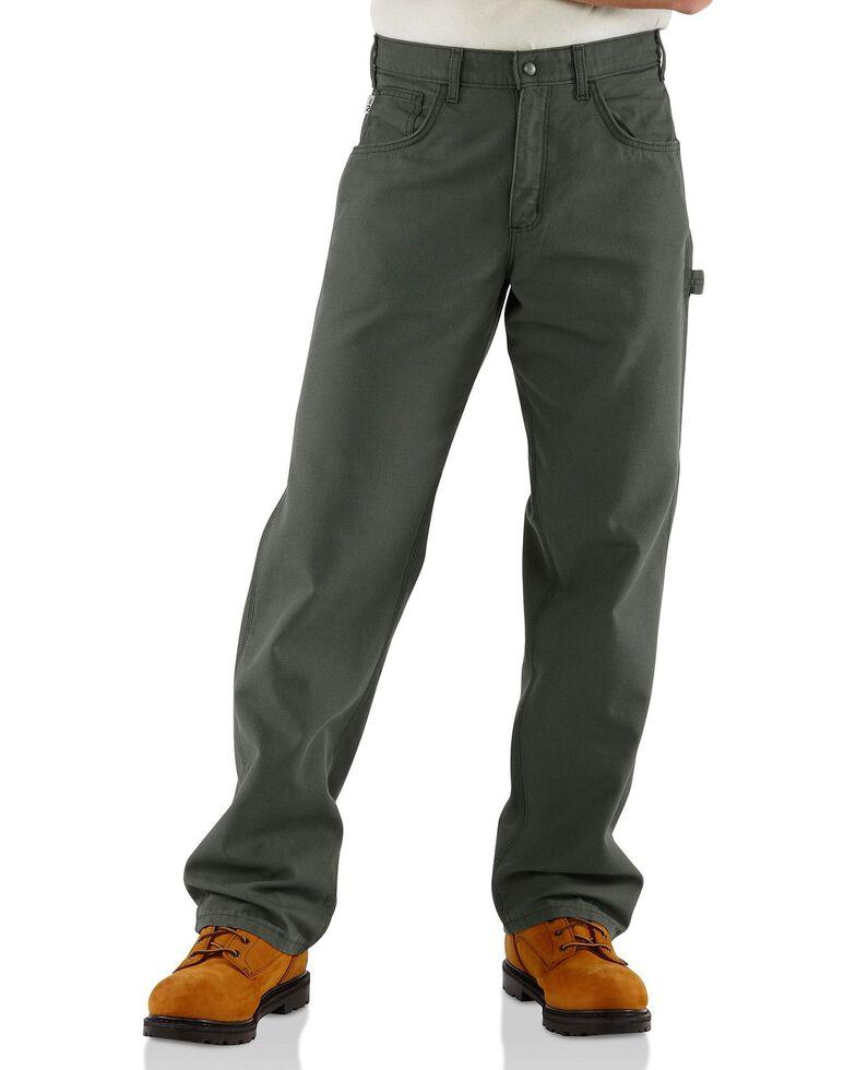 Carhartt Flame Resistant  Canvas Work Pants, Moss, hi-res