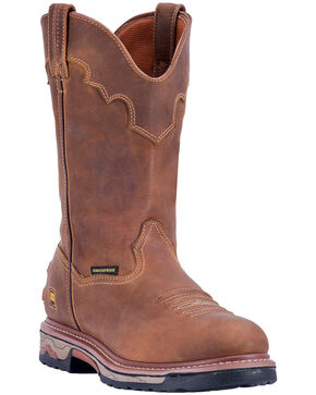 Dan Post Men's Journeyman Waterproof Western Work Boots - Safety Toe, Brown, hi-res