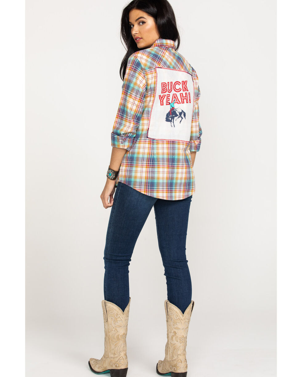 Wrangler Women's Multi-Color Plaid Long Sleeve Western Shirt, Navy, hi-res