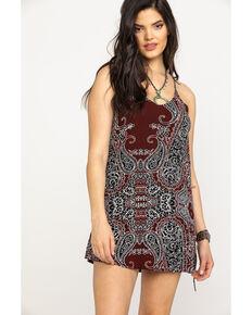 Shyanne Women's Burgundy Paisley Print Slip Dress, Burgundy, hi-res