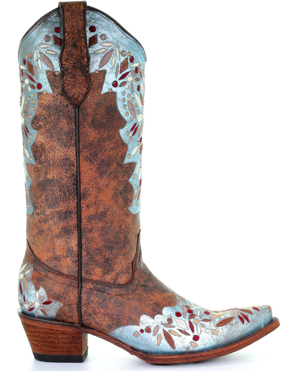 Circle G Women's Shedron Light Blue Red Embroidered Cowgirl Boots - Snip Toe, Multi, hi-res