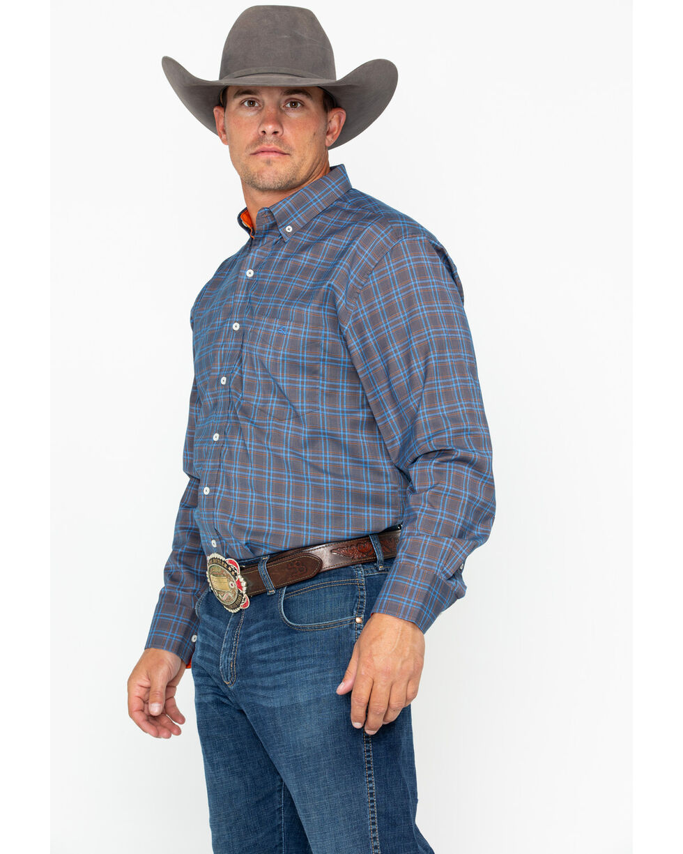 Resistol Men's Oelrich Plaid Long Sleeve Western Shirt , Blue, hi-res
