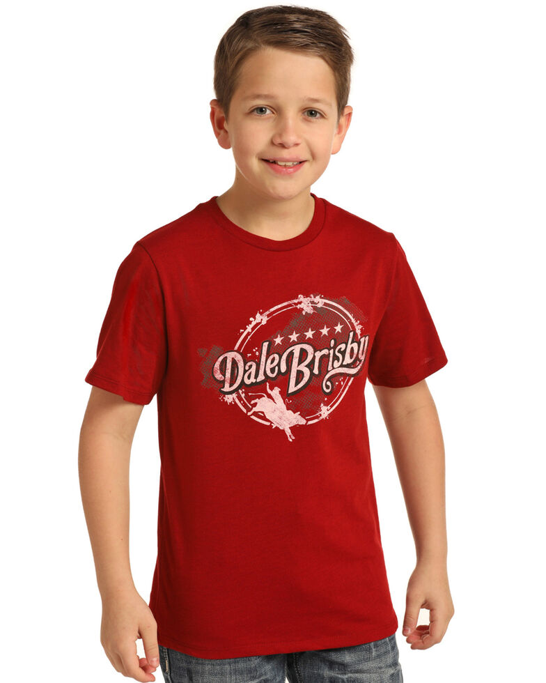 Dale Brisby Boys' Circle Logo Graphic T-Shirt , Red, hi-res