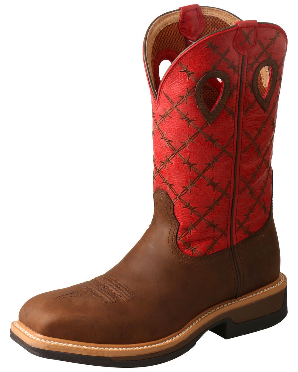 Twisted X Men's Lite Cowboy Western Work Boots - Wide Square Toe, Brown, hi-res