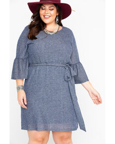Flying Tomato Women's High Neck Sweater Tie Waist Dress - Plus , Blue, hi-res