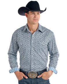 Rough Stock By Panhandle Men's Langunita Vintage Print Long Sleeve Western Shirt - Big , Grey, hi-res