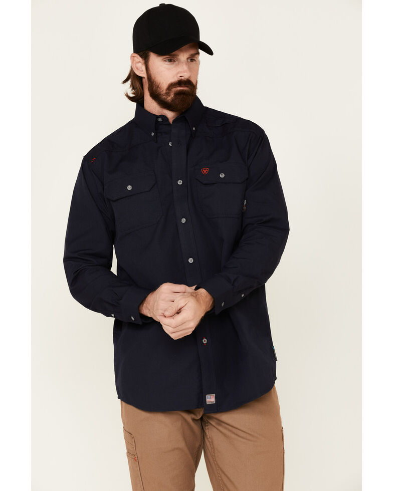 Ariat Men's Navy FR Featherlight Long Sleeve Work Shirt , Navy, hi-res