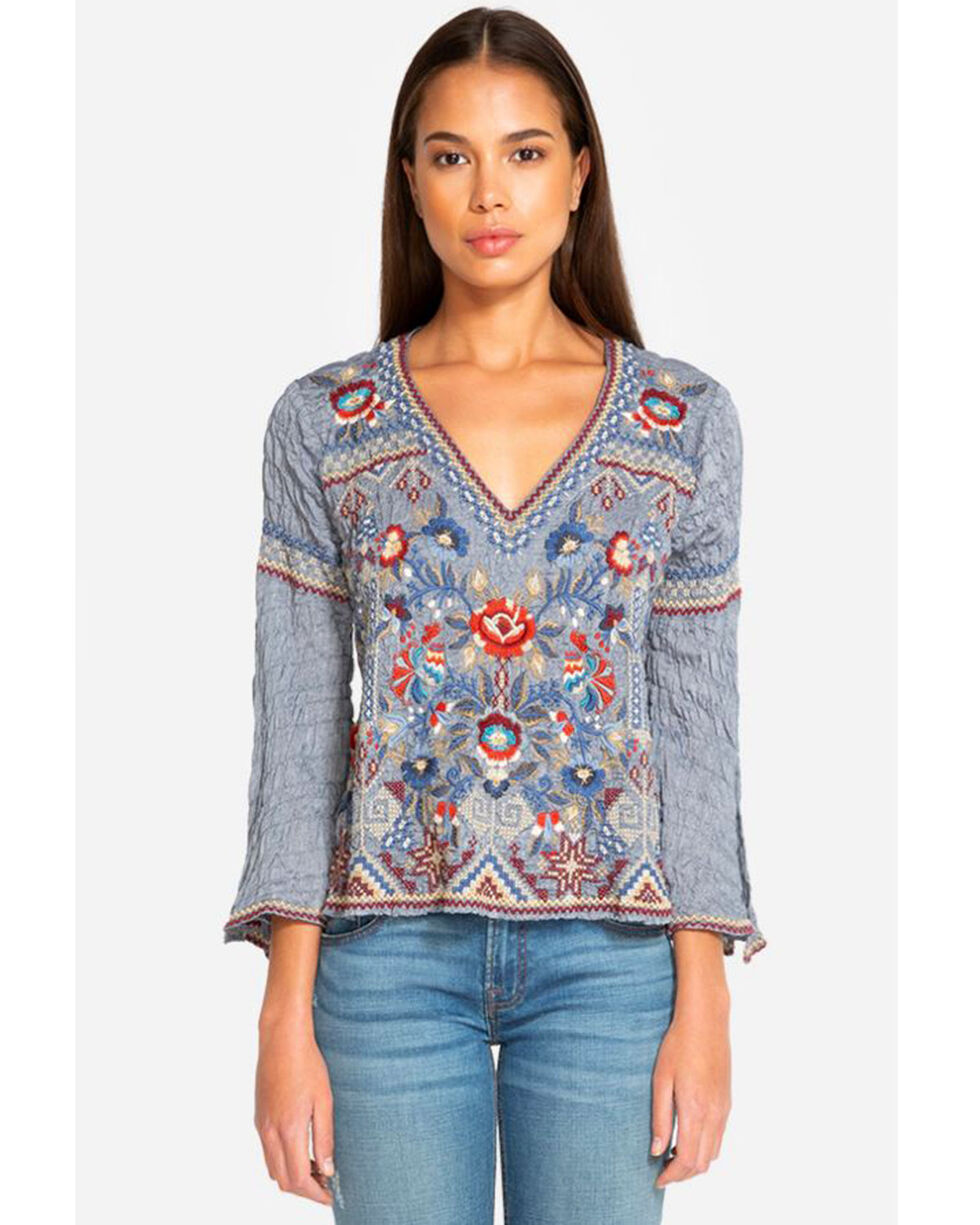Johnny Was Women's Bohdi Swing Blouse , Indigo, hi-res