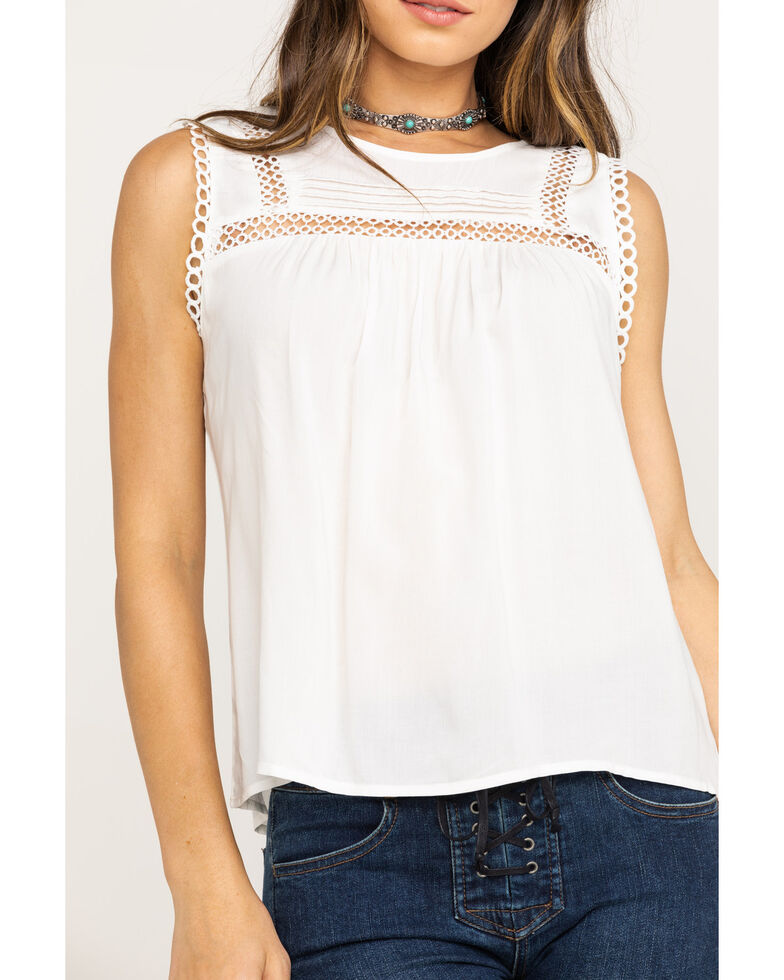 Red Label by Panhandle Women's White Crochet Trim Tank Top, White, hi-res