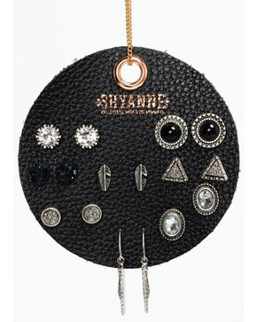 Shyanne Women's Black 8 Pack Earring Patch Set, Black, hi-res