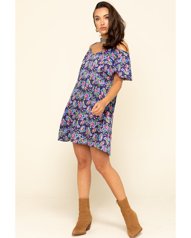 Red Label by Panhandle Women's Navy Cold Shoulder Dress, Navy, hi-res